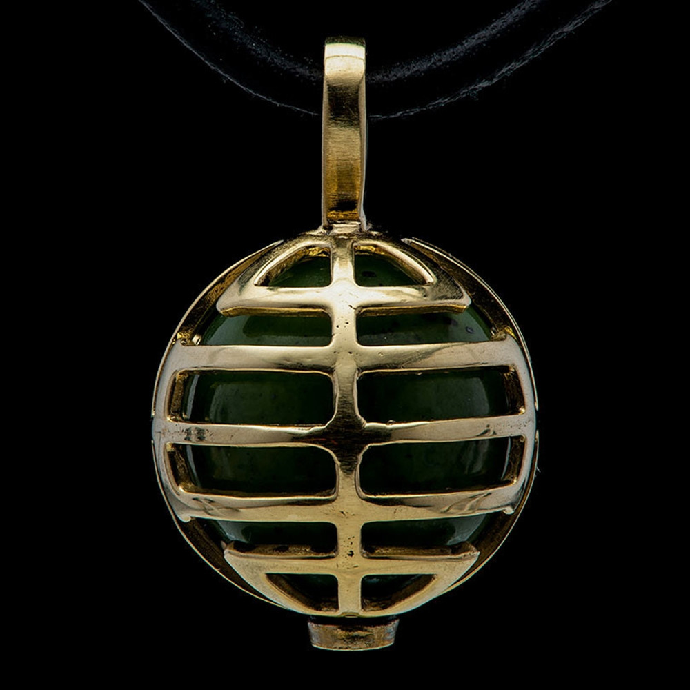 William Henry Dreamer Embrace Yellow Gold Green Jade Bead Pendant Necklace
