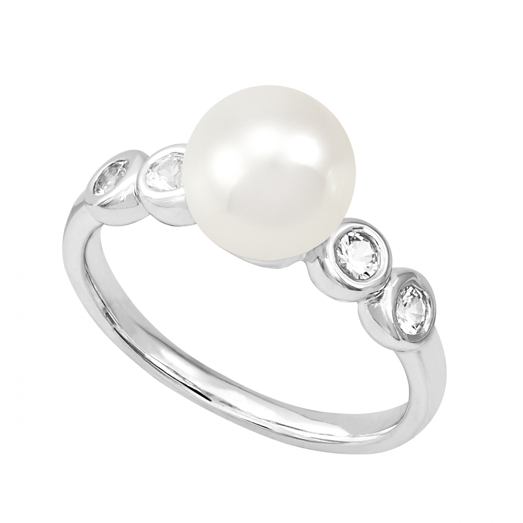 Honora Shimmer Pearl and White Sapphire Ring in Silver