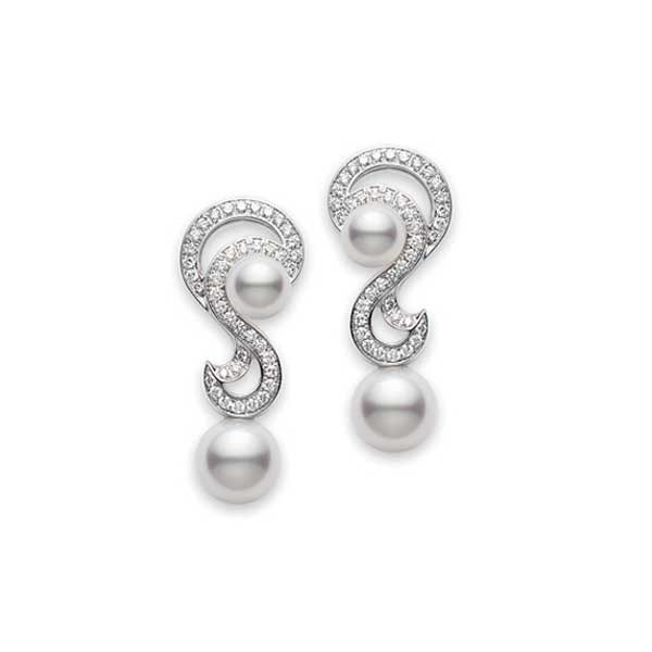 Mikimoto Laguna Akoya Pearl & Diamond White Gold Earrings