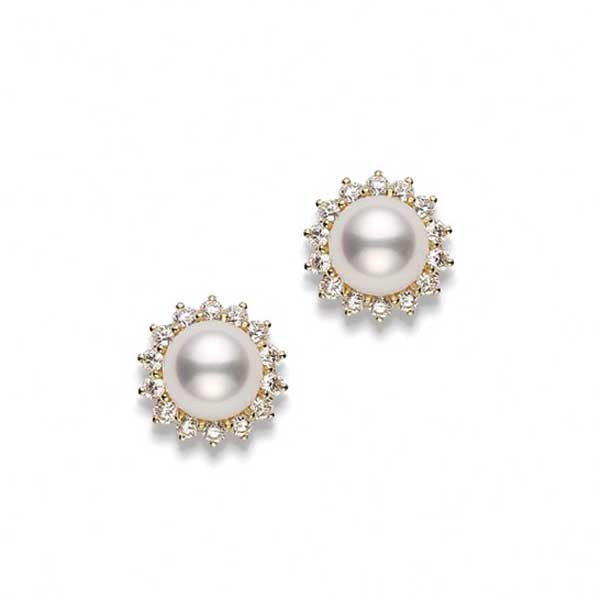 Mikimoto Sunburst Yellow Gold Pearl Earrings