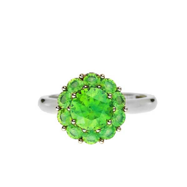 Color My Life White Gold Peridot Ring