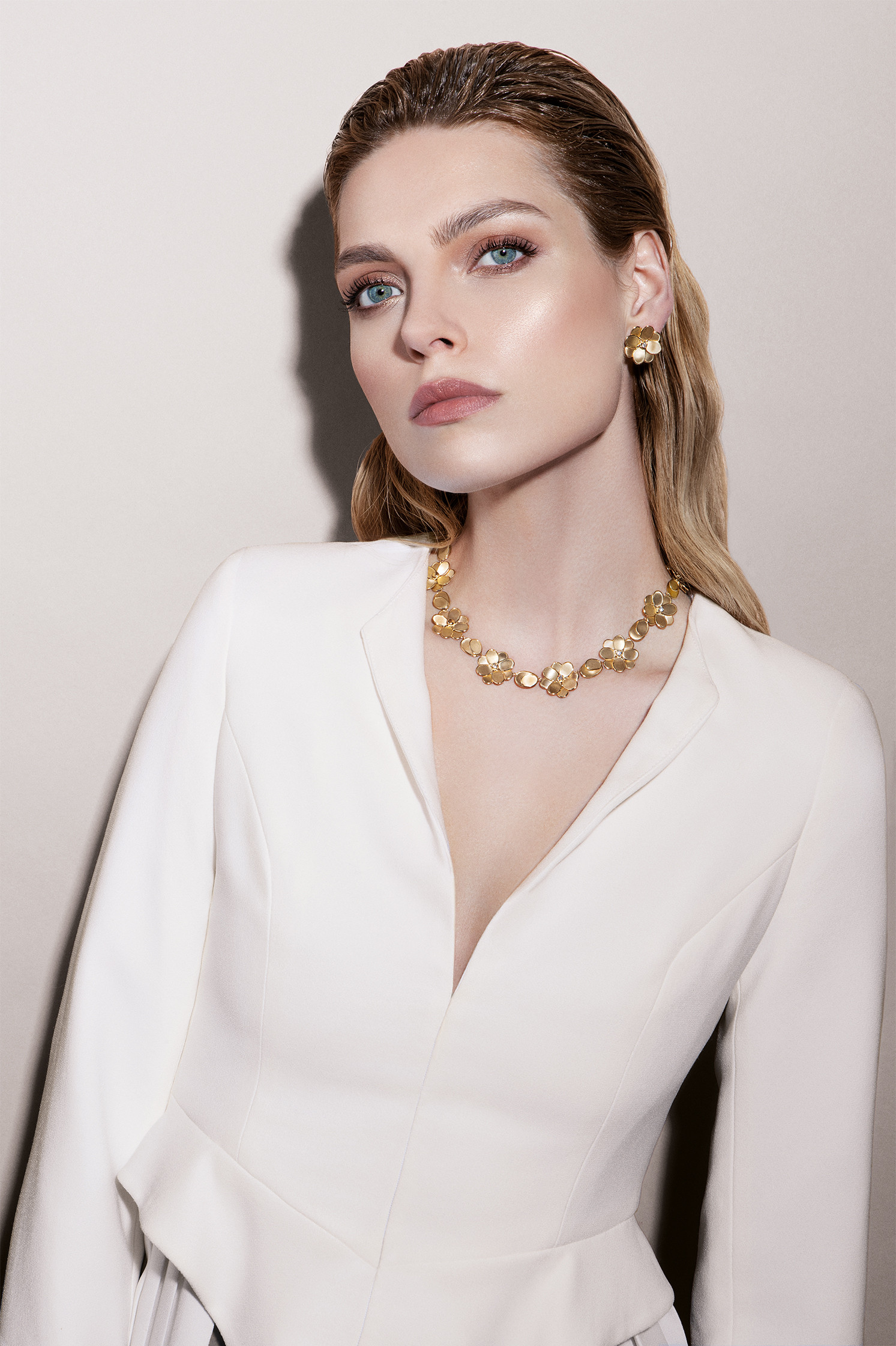 Marco Bicego Petali Diamond Flower Collar Necklace on model
