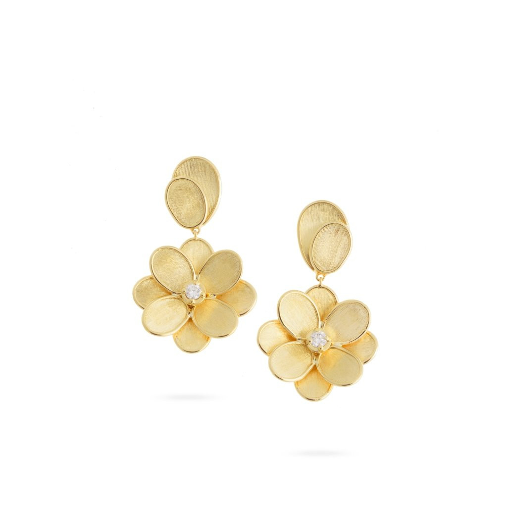 Marco Bicego Petali 18K Yellow Gold and Diamond Single Flower Drop Earrings main image