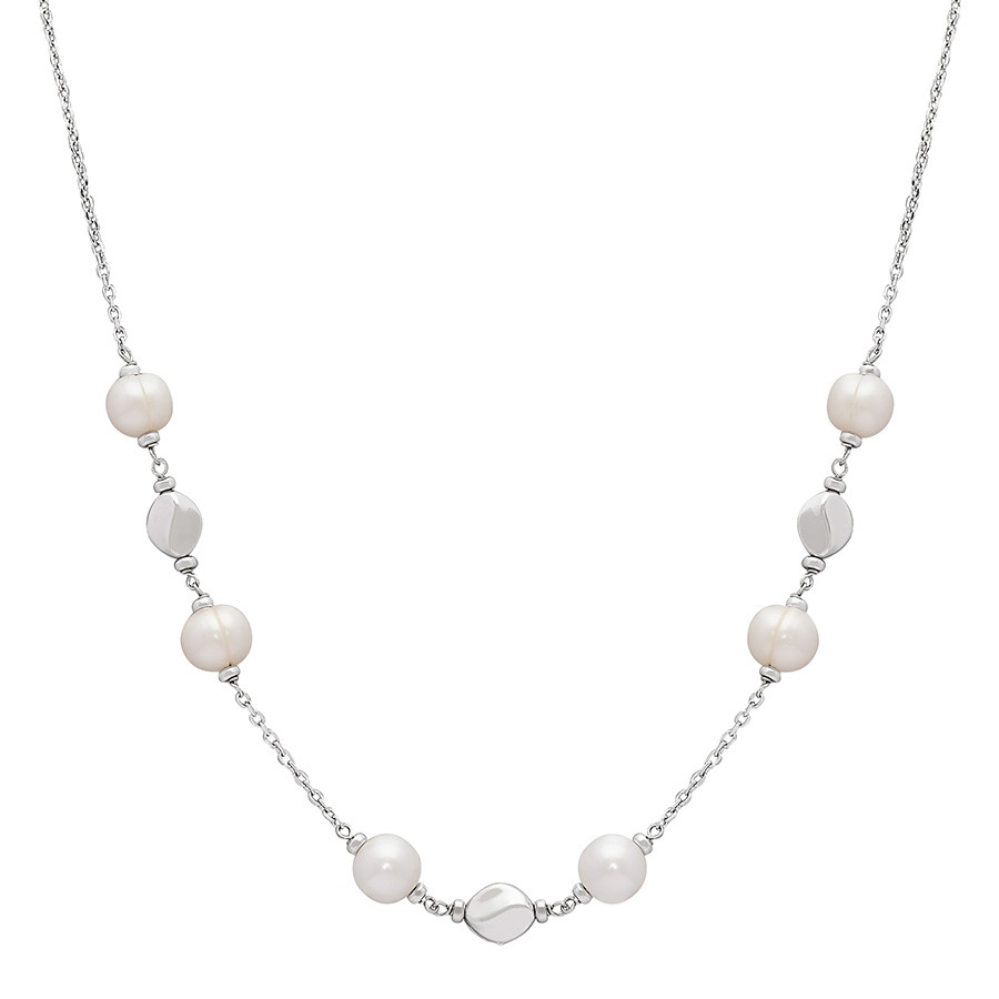 Honora Dots & Dashes White Ringed Pearl Silver Nugget Necklace