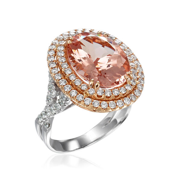 18kt Oval Rose & White Gold Morganite Ring