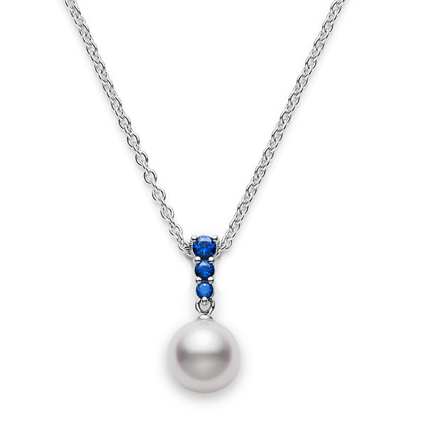 Mikimoto Akoya Pearl White Gold Necklace with Blue Sapphires