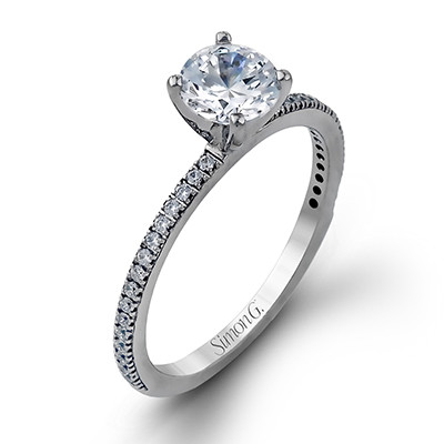 Simon G PR108 Caviar Solitaire with Pave Side Stones Engagement Setting