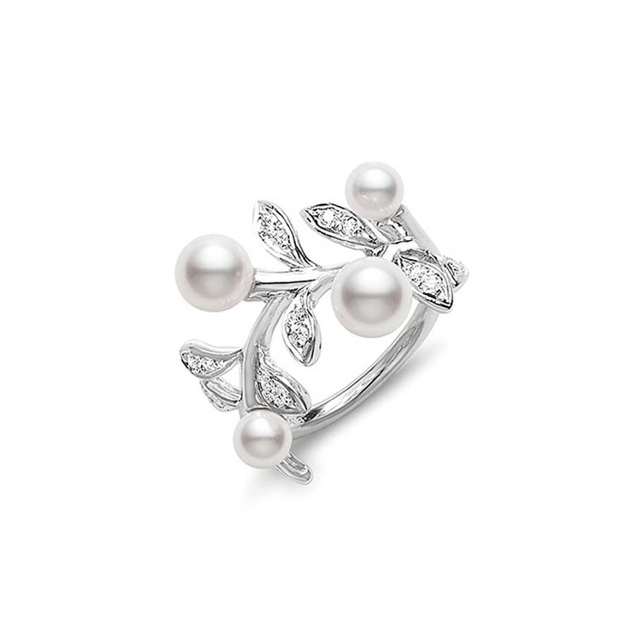 Mikimoto White Gold Olive Branch Pearl Diamond Ring