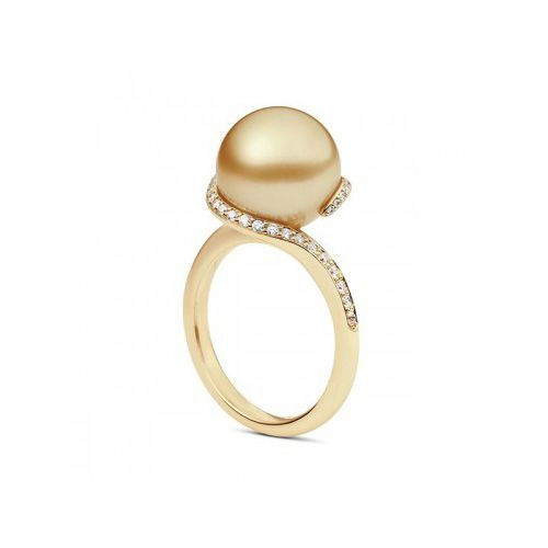 Mikimoto Twist Golden South Sea Pearl Diamond Ring