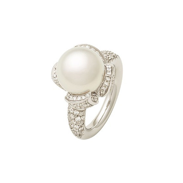 Mikimoto Water Lily White South Sea Pearl & Diamond Ring