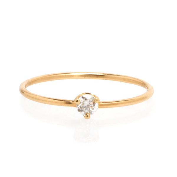 Zoe Chicco Single Large White Diamond Yellow Gold Ring
