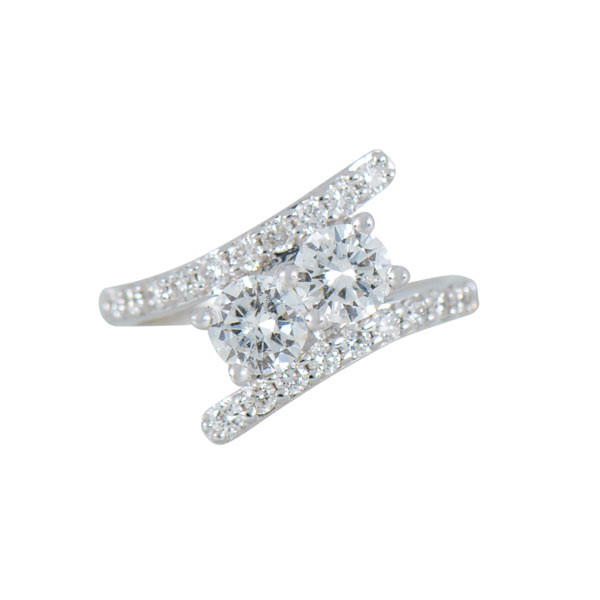 Two Stone 1.50ctw Diamond Bypass Ring