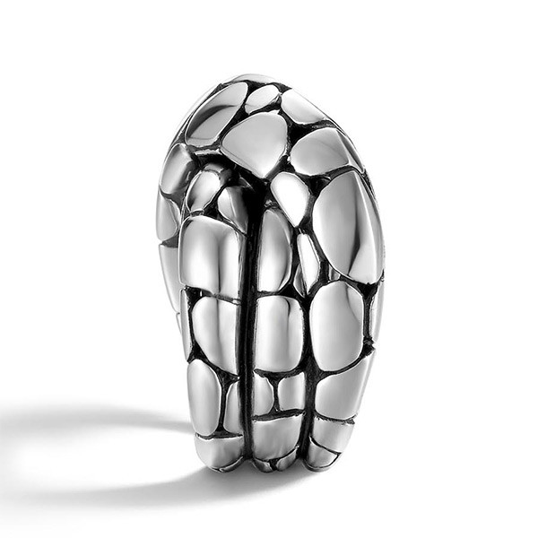 John Hardy Silver Twist Pebble Stone Kali Ring Edge View