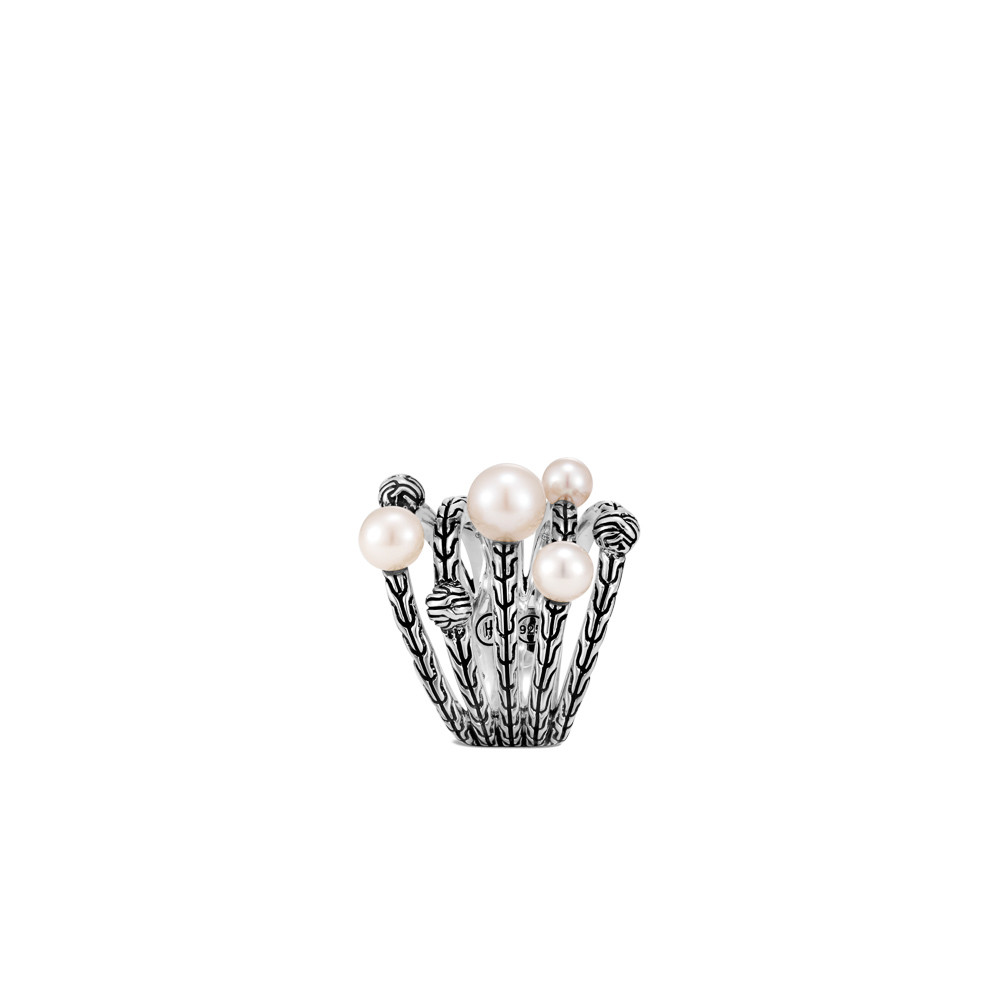 John Hardy Classic Chain Pearl Bead Multi Row Ring in Sterling Silver side view