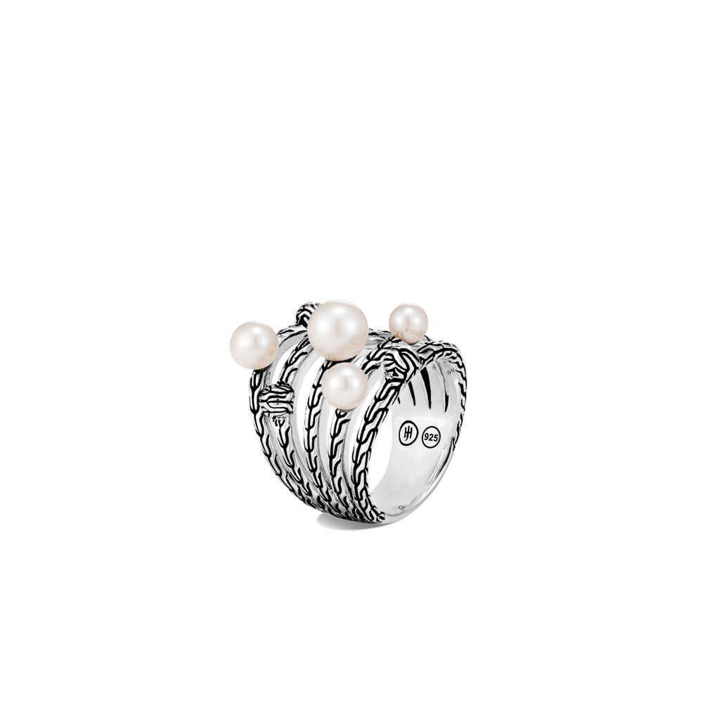 John Hardy Classic Chain Pearl Bead Multi Row Ring in Sterling Silver