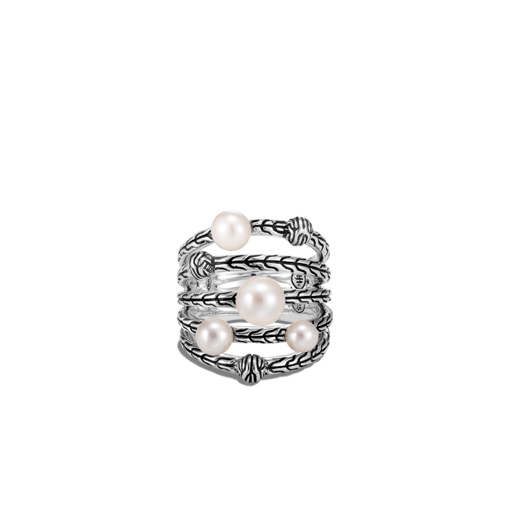 John Hardy Classic Chain Pearl Bead Multi Row Ring in Sterling Silver front view