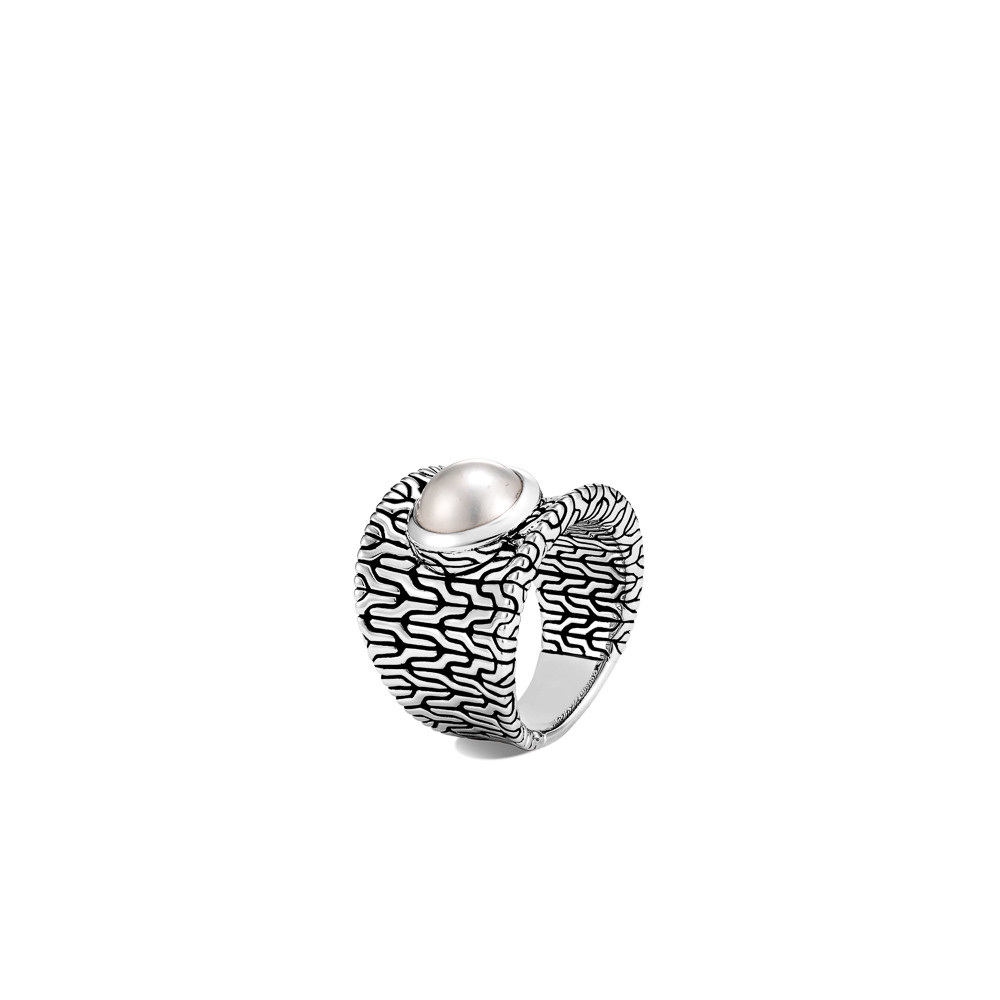 John Hardy Classic Chain Fresh Water Pearl Ring in Sterling Silver