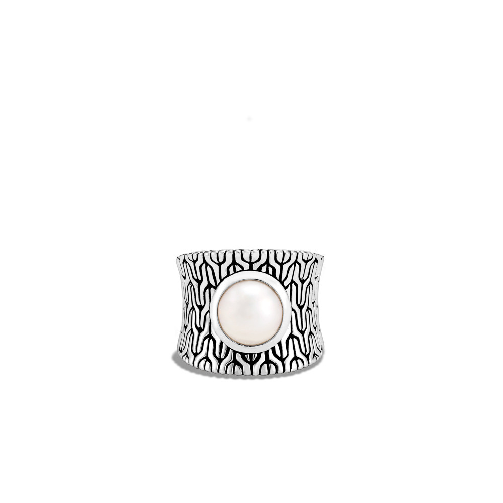 John Hardy Classic Chain Fresh Water Pearl Ring in Sterling Silver front view