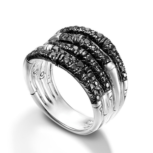 John Hardy Black Sapphire Lava Wide Bamboo Ring Angle View