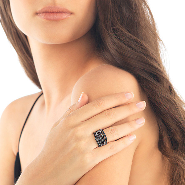 John Hardy Black Sapphire Lava Wide Bamboo Ring on Model