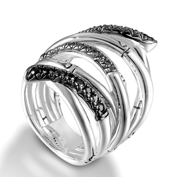 John Hardy Bamboo Extra-Wide Silver Black Sapphire Ring