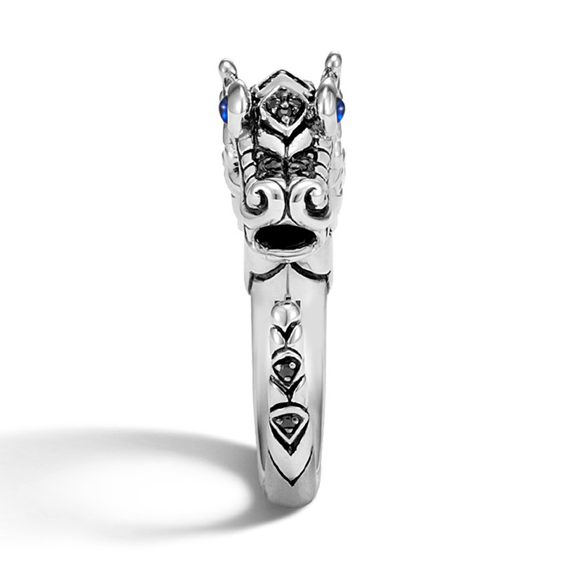 John Hardy Black Sapphire & Spinel Brushed Silver Legends Naga Ring Edge View