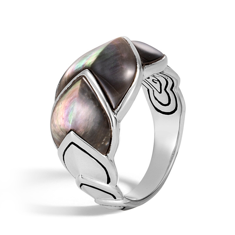 John Hardy Legends Naga Black Mother of Pearl Dragon Scale Ring angle view