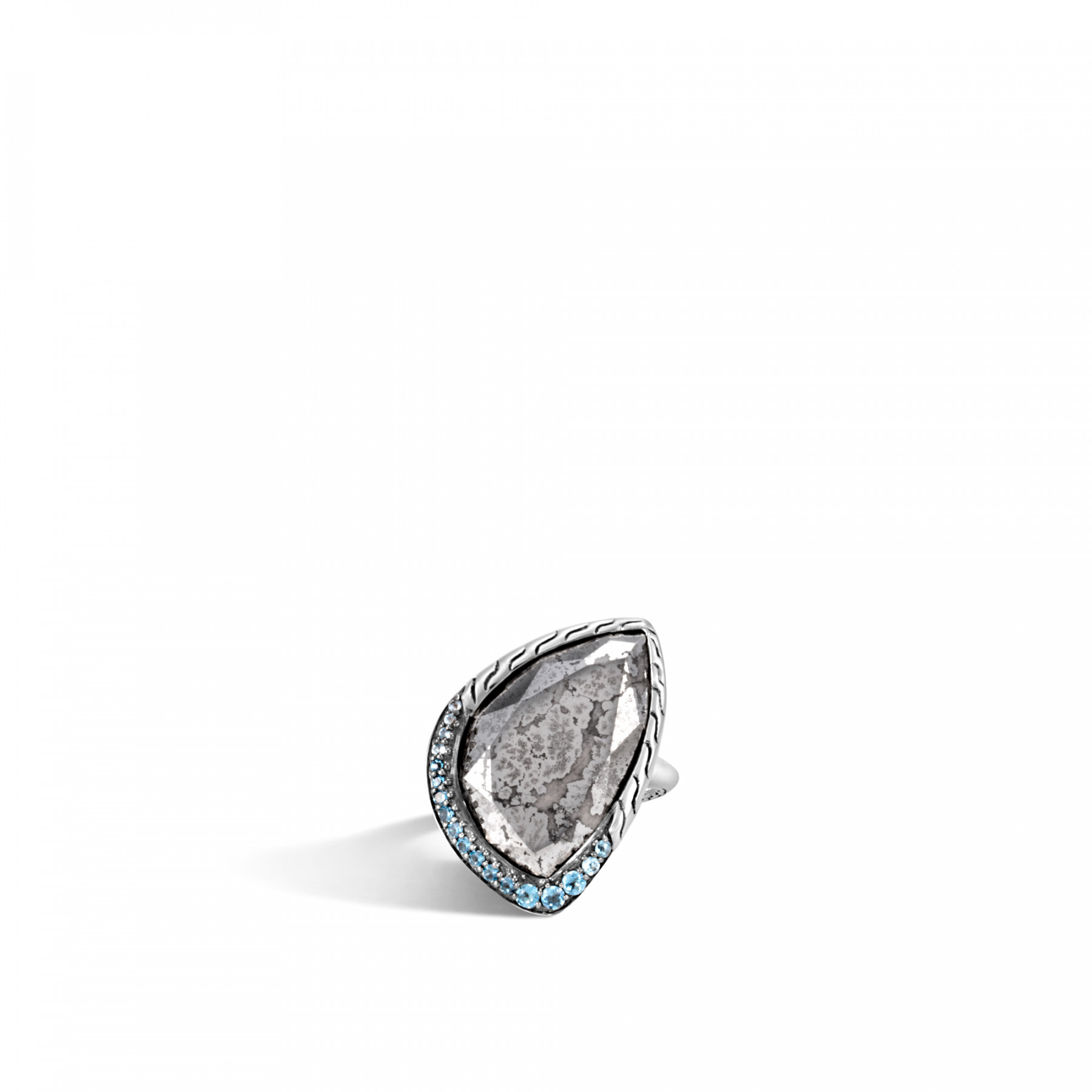 John Hardy Classic Chain Silver Calcite & Blue Topaz Ring