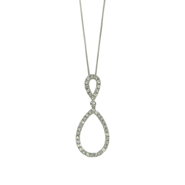 Roberto Coin Diamond Double Teardrop Necklace