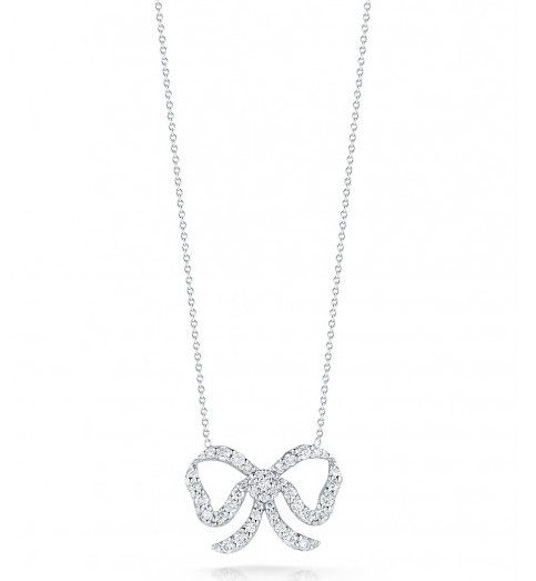 Roberto Coin Tiny Treasures Diamond Bow Necklace .49tw