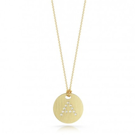Roberto Coin Tiny Treasures 18kt Yellow Gold Diamond Initial A Medallion Necklace