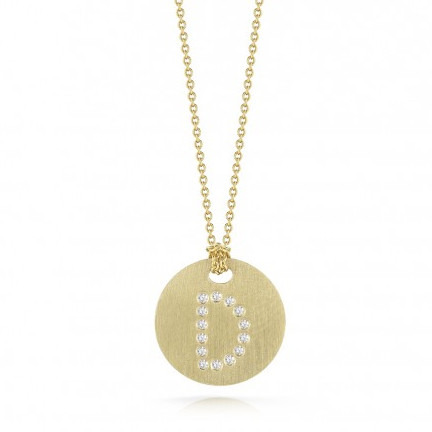 Roberto Coin Tiny Treasures 18kt Yellow Gold Diamond Initial D Medallion Necklace