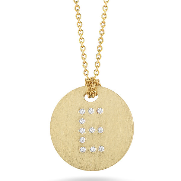 Diamond Initial E Medallion Necklace