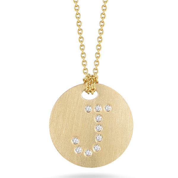 Diamond Initial J Medallion Necklace