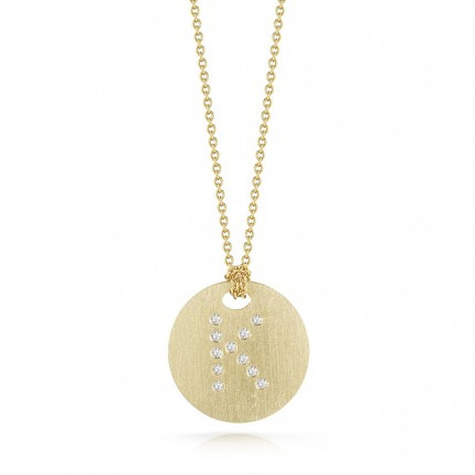 Roberto Coin Tiny Treasures 18kt Yellow Gold Diamond Initial K Medallion Necklace