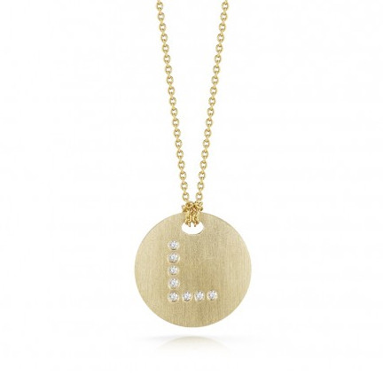 Roberto Coin Tiny Treasures 18kt Yellow Gold Diamond Initial L Medallion Necklace
