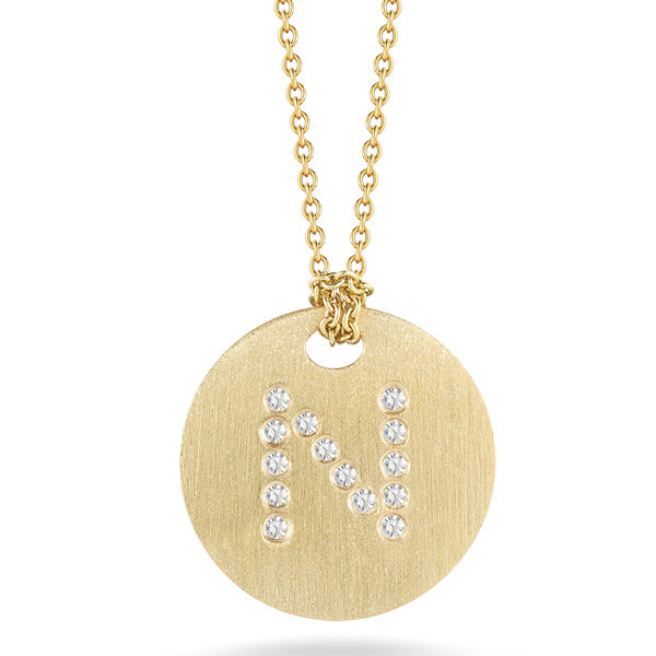 Diamond Initial N Medallion Necklace