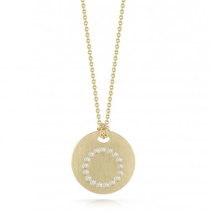 Roberto Coin Tiny Treasures 18kt Yellow Gold Diamond Initial O Medallion Necklace