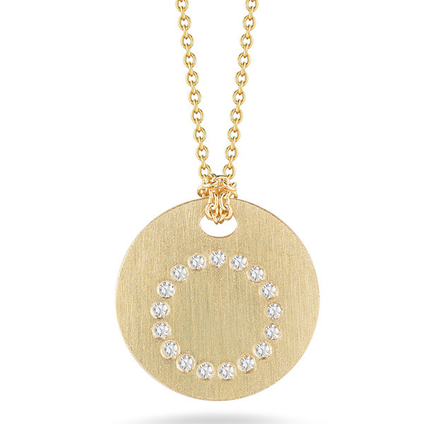 Diamond Initial O Medallion Necklace