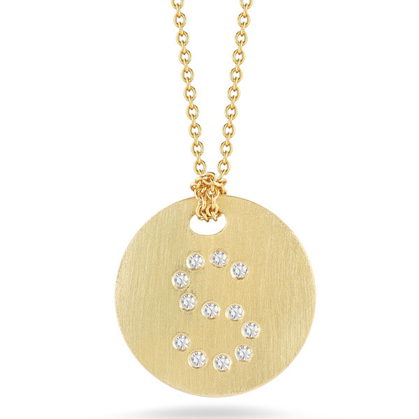 Roberto Coin Tiny Treasures 18kt Yellow Gold Diamond Initial S Medallion Necklace