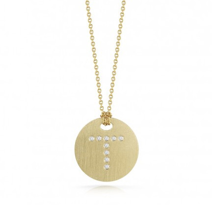 Roberto Coin Tiny Treasures 18kt Yellow Gold Diamond Initial T Medallion Necklace