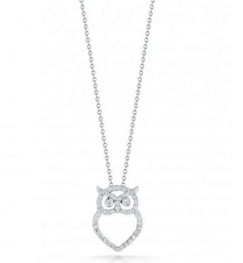 """Roberto Coin Tiny Treasures Owl Pendant On 18"""" Chain Necklace 0.21ctw"""