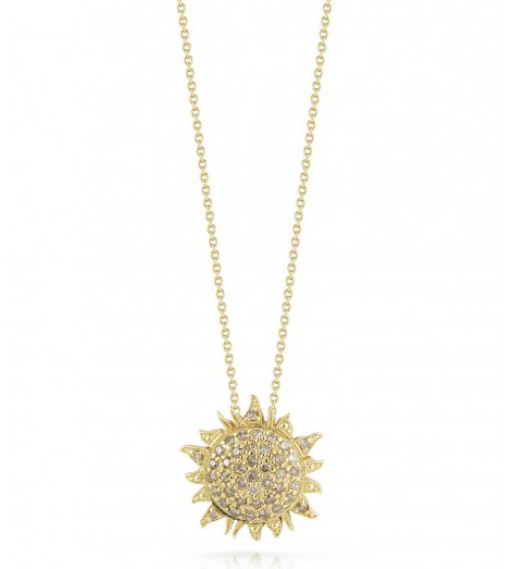 Roberto Coin Tiny Treasures Cognac Diamond Sun Necklace 0.22ctw