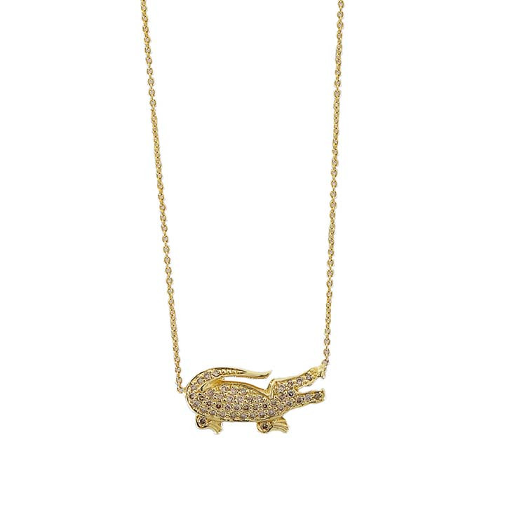 Roberto Coin Yellow Gold Cognac Diamond Crocodile Pendant