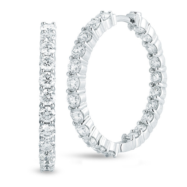 Roberto Coin Circle Of Life 18kt White Gold Diamond Inside Out Hoop Earrings