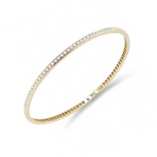 Roberto Coin 18kt Yellow Gold with Pave Diamonds Bangle Bracelet