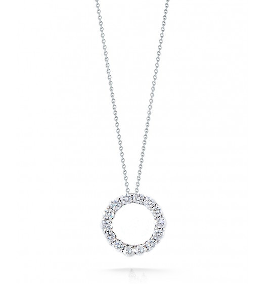 Roberto Coin Tiny Treasures Glittering Diamond 16mm Circle Necklace 1.25ctw