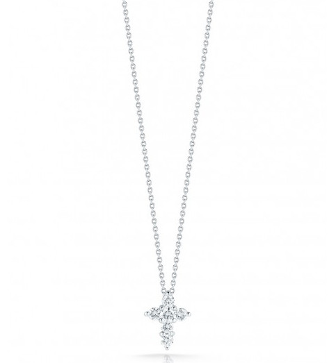 Roberto Coin Tiny Treasures 18kt White Gold Diamond Cross Necklace .20ctw