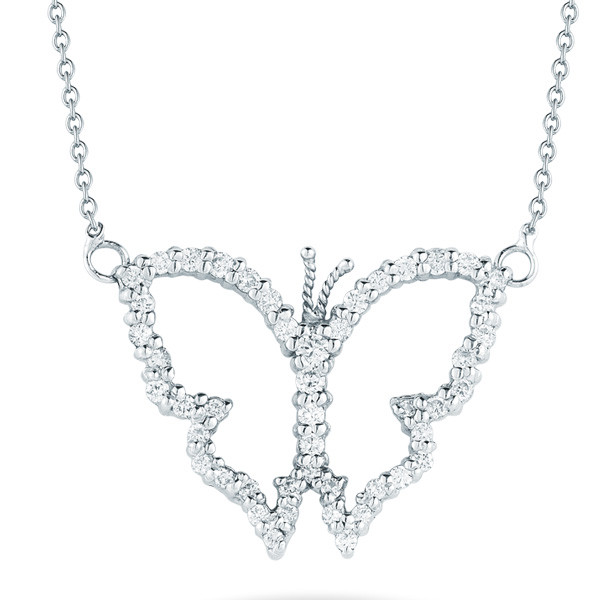 Roberto Coin Open Butterfly Pave Diamond Necklace