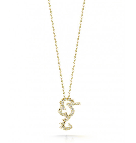 Roberto Coin Tiny Treasures Seahorse With Diamonds 18kt Yellow Gold Necklace